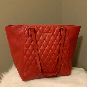Leather Quilted Ella Tote in Tango Red